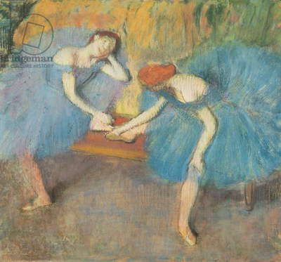 Two Dancers at Rest or, Dancers in Blue, c.1898 (pastel on paper)
