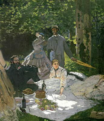 Dejeuner sur l'Herbe, Chailly, 1865 (central panel) (oil on canvas) (see also 65899)