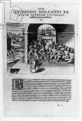 Arrival of the Dutch Leaders in Guinea: The Negotiation for the Purchase of Slaves Destined to be Sold Back to the Spanish Conquistadors, from 'Petits Voyages', 1585-88 (engraving) (b/w photo)