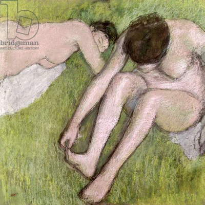 Two Bathers on the Grass, c.1886-90 (pastel on paper)