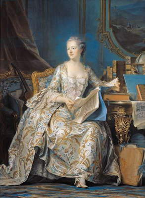 Jeanne Poisson (1721-64) the Marquise de Pompadour, 1755 (pastel on paper mounted on canvas)