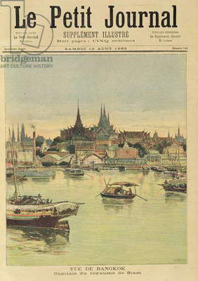 View of Bangkok, from 'Le Petit Journal', 12th August 1893 (coloured engraving)