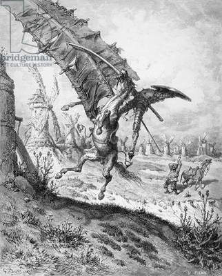 Don Quixote and the Windmills, from 'Don Quixote de la Mancha' by Miguel Cervantes (1547-1616) engraved by Heliodore Joseph Pisan (1822-90) (engraving) (b/w photo) (see also 141799)