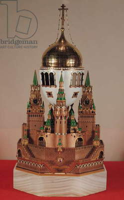Easter egg in the form of the Uspensky Cathedral, Kremlin, given by Tsar Nicholas II (1868-1918) to his wife, Tsarina Alexandra (1872-1918) 1904 (gold, glass, onyx, silver and enamel) (see 57732)