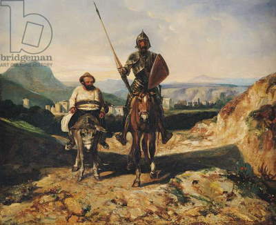 Don Quixote and Sancho (oil on canvas)