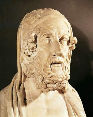 Bust of Homer, Hellenistic period (330-20 BC ) (marble)