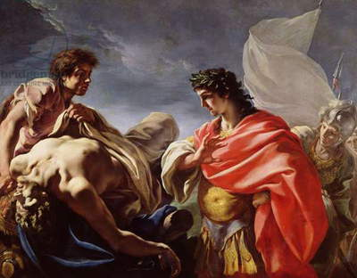 Achilles Contemplating the Body of Patroclus (oil on canvas)