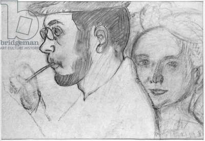 Pierre Bonnard (1867-1947) and Marthe Denis (1871-1919) 1899 (charcoal on paper) (b/w photo)