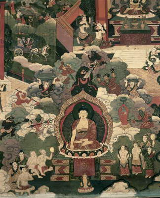 Life of Buddha Sakymuni, the Armies of Mara Attacking the Blessed (painting on silk)