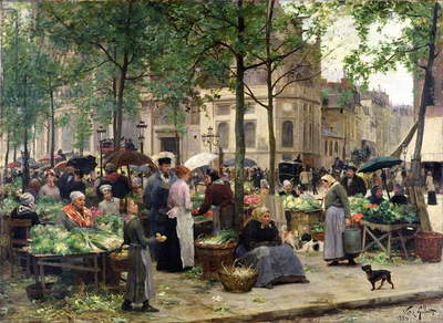 The Square in front of Les Halles, 1880 (oil on canvas)
