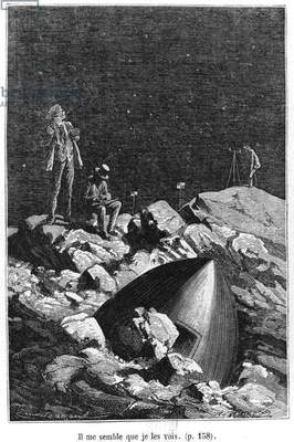 Illustration from 'From the Earth to the Moon' by Jules Verne (1828-1905) Paris, Hetzel, published in 1865 (engraving) (b/w photo)