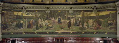 The Sacred Wood, mural in the Grand Amphitheatre depicting allegorical figures of the Sorbonne, Eloquence, Poetry, Philosophy, History, Botany, Geology, Physics and Geometry, 1887-89 (fresco) (see 88481 for detail)