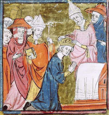 f.106r The Coronation of Emperor Charlemagne (742-814) by Pope Leo III (c.750-816) at St. Peters, Rome in 800, Grandes Chroniques de France, 1375-79 (vellum)