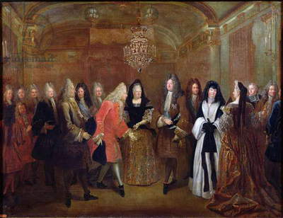 Louis XIV (1638-1715) welcomes the Elector of Saxony, Frederick Augustus II (1670-1733) to Fontainebleau, 27th September 1714, 1715 (oil on canvas)