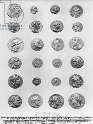 Twenty four coins (metal) (b/w photo)