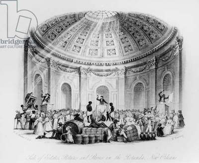 Sale of Estates, Pictures and Slaves in the Rotunda, New Orleans, engraved by J.M. Starling, 1842 (engraving)