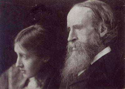 Virginia Woolf and her father Sir Leslie Stephen, c.1903 (b/w photo)