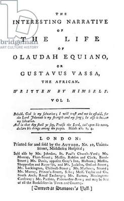 Title page to 'The Interesting Narrative of the Life of Olaudah Equiano, or Gustavus Vassa, the African, written by himself', published 1789 (print)