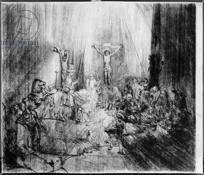 The Three Crosses, 1653 (etching)