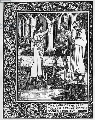 The Lady of the Lake telleth Arthur of the sword Excalibur, illustration from 'Le Morte d'Arthur' by Sir Thomas Malory, 1893-94 (litho)