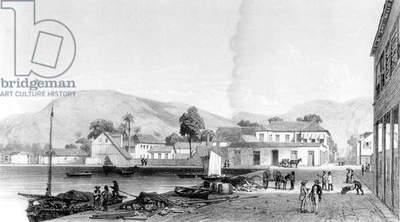 Custom House and St. Vincent's Wharf, Trinidad, engraved by Eugene Ciceri, c.1850 (engraving) (b/w photo)