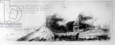 Landscape with country lane and cottages, etched by Benjamin Wilson, 1751 (etching)