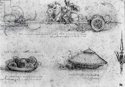 Studies of military tank-like machines; including one at the top with horses pulling a contraption with revolving scythes, c.1485 (pen & ink and brown wash on paper)