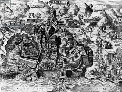 The Spanish attempt to capture Algiers, 1541 (engraving)