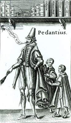 Frontispiece of 'Pedantius', comedy by Edward Forsett produced in Cambridge in 1581 (woodcut)