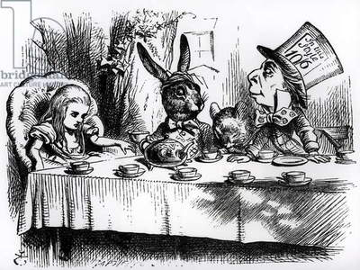 The Mad Hatter's Tea Party, illustration from 'Alice's Adventures in Wonderland', by Lewis Carroll, 1865 (engraving) (b&w photo)