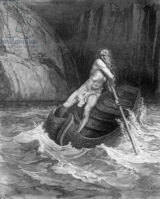 Charon, the Ferryman of Hell, from The Divine Comedy (Inferno) by Dante Alighieri (1265-1321) engraved by Stephane Pannemaker (1847-1930) c.1868 (engraving)