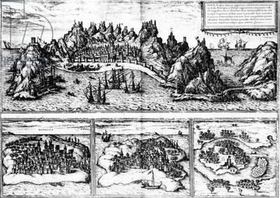 Views of Aden, Mombaza, Quiloa and Cefala, from Georg Braun's 'Civitates orbis terrarum', published in 1572 (engraving)