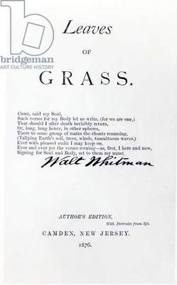 Frontispiece to 'Leaves of Grass' by Walt Whitman (1819-92), pub. in 1876 (b/w photo)