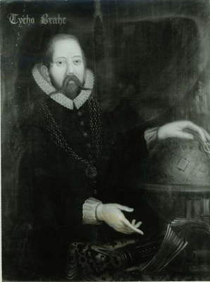 Tycho Brahe (1546-1601) (oil on canvas) (b&w photo)