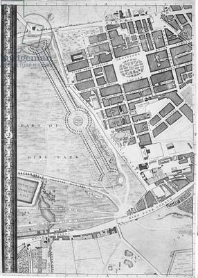 A Map of Hyde Park Corner, Grosvenor Square and Tyburn, London, 1746 (litho)