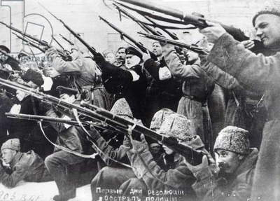 Bolshevik revolutionaries, October Revolution, 1917 (b/w photo)