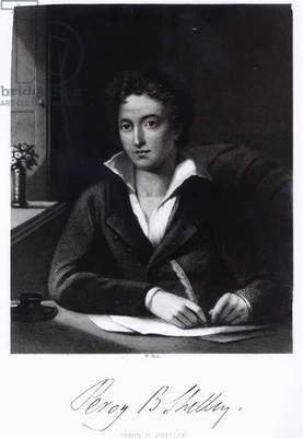 Percy Bysshe Shelley, engraved by William Holl (engraving) (b/w photo)