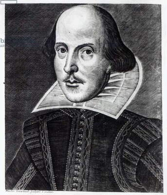 Portrait of William Shakespeare, engraved by Martin Droeshout, 1623 (engraving) (b/w photo)