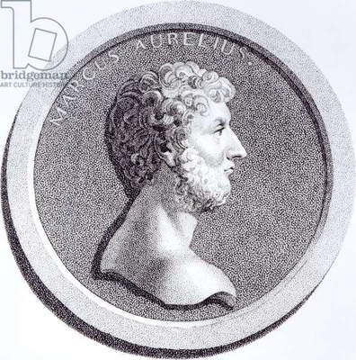 Portrait of Marcus Aurelius, from 'The History of the Decline and Fall of the Roman Empire', Vol 6 Page 81, by Edward Gibbon, 1808 (litho) (b/w photo)
