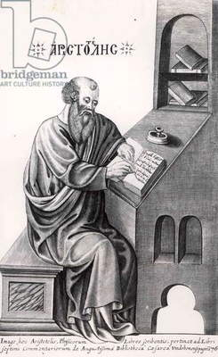 Aristotle (384-322 BC) (engraving) (b&w photo)