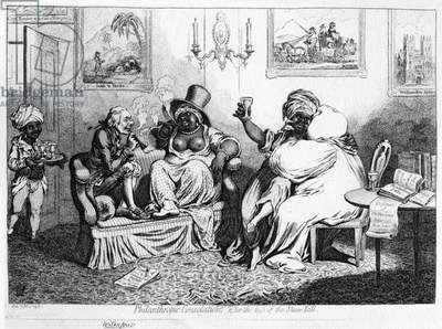 Philanthropic Consolations, after the loss of the Slave Bill, 1796 (etching)