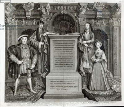 Familia Regia, or The Family of Henry VIII, 1742 (engraving) (b/w photo)