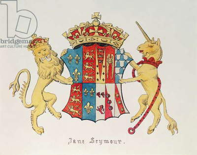 Coat of Arms of Jane Seymour (c.1509-37), third wife of King Henry VIII of England (1491-1547) (print)