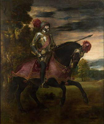 The Emperor Charles V (1500-58) on Horseback in Muhlberg, 1548 (oil on canvas)