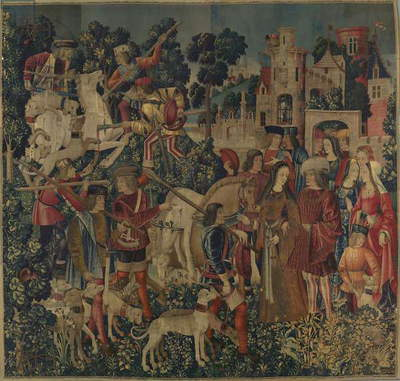 The Unicorn is Killed and Brought to the Castle, c.1500 (wool warp with wool, silk, silver, and gilt wefts)