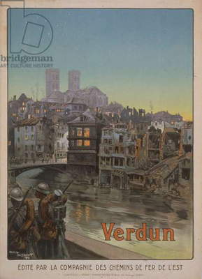 Poster showing ruins of Verdun, 1919 (lithograph)