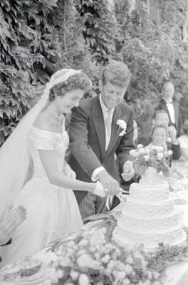 Wedding of Jackie Bouvier and Senator John F. Kennedy at Newport, Rhode Island, 1953 (b/w photo)