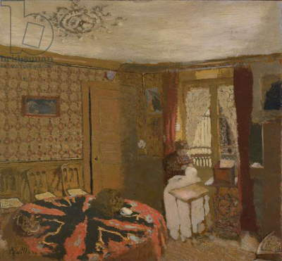 Mme Vuillard Sewing by the Window, rue Truffaut, c.1899 (oil on cardboard laid down on panel)