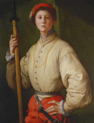 Portrait of a Halberdier (possibly Francesco Guardi) c.1528-30 (oil on panel)