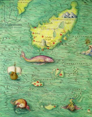 Iceland, from an Atlas of the World in 33 maps, Venice, 1st September 1553 (ink on vellum) (detail from 330951)